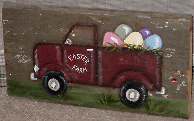 *~*primitive*~* Hp Folk Art Prim Easter Truck *~* Eggs *~* Old Reclaimed Wood