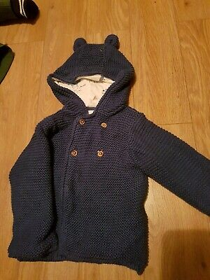 Boys Knitted Pure Cotton Cardigan Marks And Spencer 9-12 Months