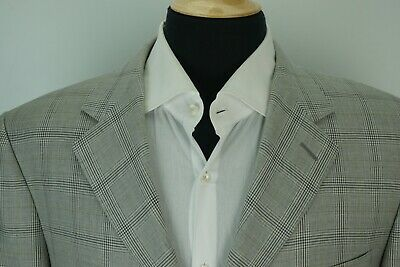 Canali POW Gray Blue Plaid 100% Wool Sport Coat Jacket Sz 42S Made in Italy