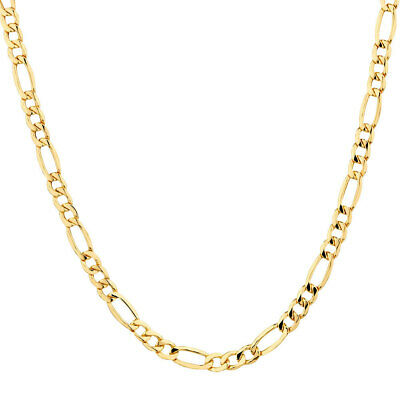 """Solid 14K Yellow Gold Italy Figaro Chain Link Pendant Necklace 16"""""""