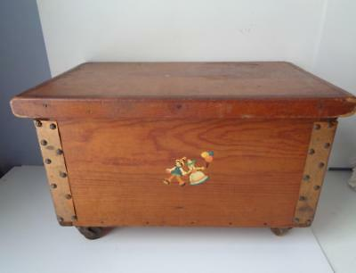 Antique Vintage Wooden Toy Box Doll Trunk HINGED Lid Wheels Swedish German OLD