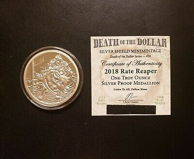 """2018 Silver Shield MiniMintage - """"D.O.D"""" Series #18- 1 oz. Rate Reaper Proof Rd."""