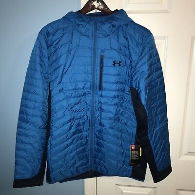 b122def1c88 NEW UNDER ARMOUR Men s XL ColdGear Reactor Hybrid Hooded Insulated Blue  Jacket