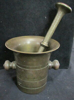 Vintage Solid Heavy Duty Large Mortar And Double Headed Pestle