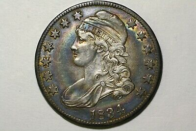 1834 Capped Bust Half, Lg. Date, Sm.Lett., O-108, Ch. XF Original and colorful