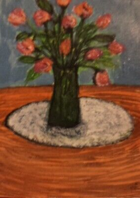 Pink Flowers In Vase ACEO originalacrylic painting atc rose tulip floral art