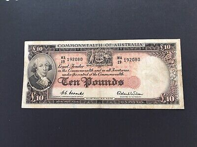 Australia 10 pounds  Coombs/Wilson 1954,scarce banknote