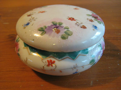 Vintage Lidded Trinket Jar Hand Painted Floral Design With Moriage.