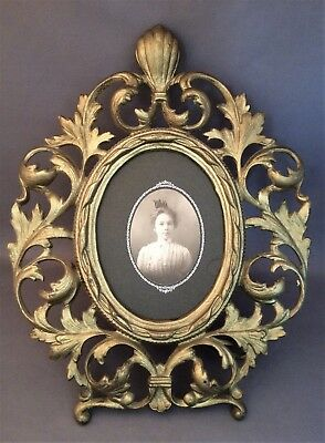 Antique Victorian Solid Gilt Brass Easel Table Picture Frame w/ Lady Grace Photo