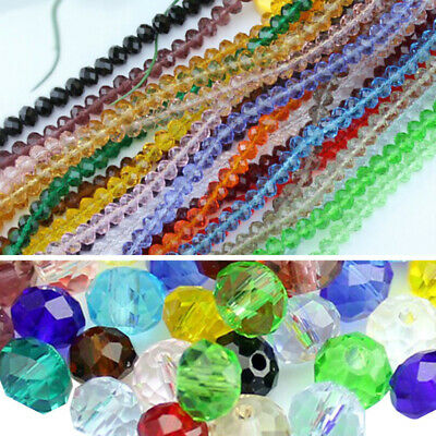 NEW Rondelle Faceted Crystal Glass Loose Spacer Beads 6mm 8mm Lots Color