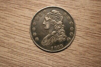 1836 Lettered Edge Capped Bust Half Dollar AU++ Very Nice