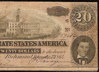 1864 $20 Dollar Bill Confederate States Currency Civil War Note Paper Money T-67