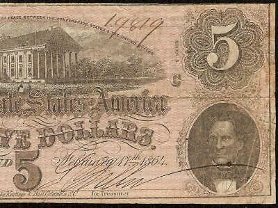 1864 $5 Dollar Bill Confederate States Currency Civil War Note Old Paper Money