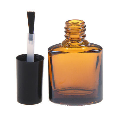 10ml Empty nail polish bottle brown glass with brush refillable manicure tool