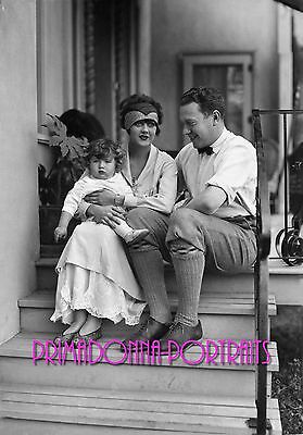 BARBARA LaMARR 8X10 Lab Photo 1920s Silent Era Family Portrait, Adorable Baby