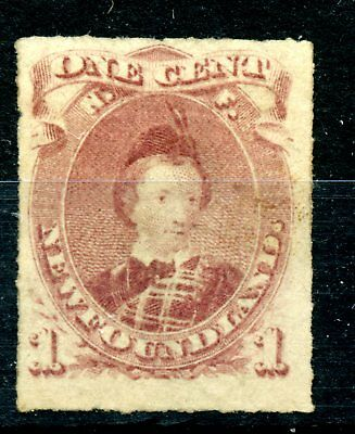 Weeda Newfoundland 37 F/VF unused 1c brown lilac rouletted 1877 issue CV $150