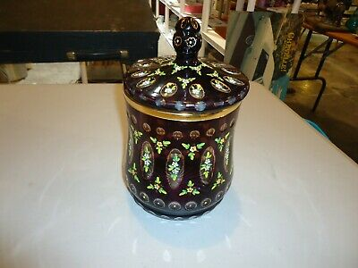 BEAUTIFUL ORNATE Art Glass, Cut, Container, Cookie Jar, Purple Gold Flowers