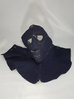 Vtg WWII USN Navy Dark Blue Wool Cold Weather Face & Neck Mask 50s Motorcycle