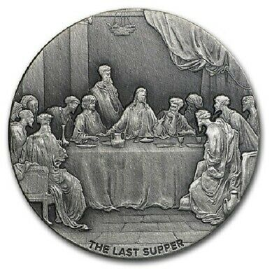 2016 $2 Nuie Biblical coin series - The Last Supper - 2 oz Silver Antique finish