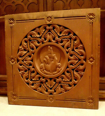 Antique Carved Wood Architectural Salvage Plaque Hand Joseph J Noe New York B