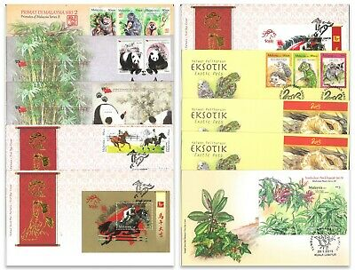 Malaysia 10 Different First Day Covers FDC With Stamp Sets & Mini Sheets