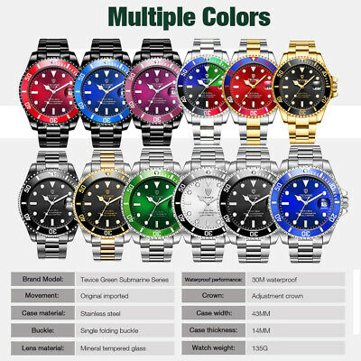 TEVISE T801A Stainless Steel Strap Men Mechanical Watch Date Function Multicolor