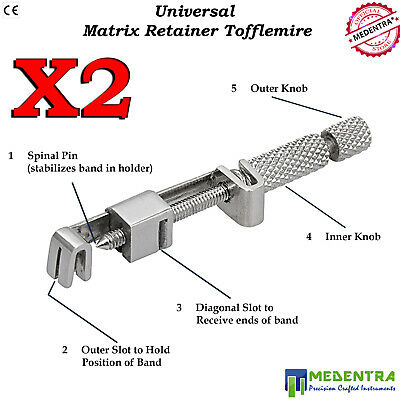 Universal Matrix Band Holder Tofflemire Retainers Dental Stainless Steel 2PCS CE
