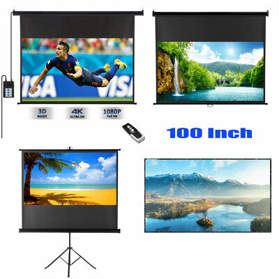 100'' Projector Screen 4K Projection Electric Motorized Manual Pull Down Stand