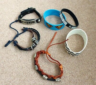 Mens / boys COLLECTION OF 6 BRACELETS / WRISTBANDS including SUPERMAN