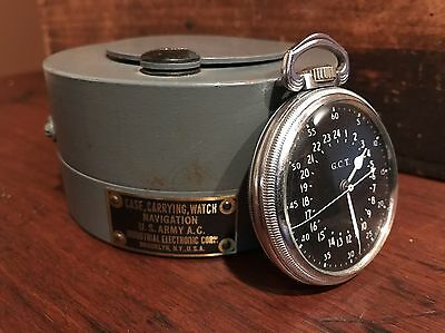 1941 Hamilton GCT 22j WWII 4992B Military Navy Pocket Watch Brass Case