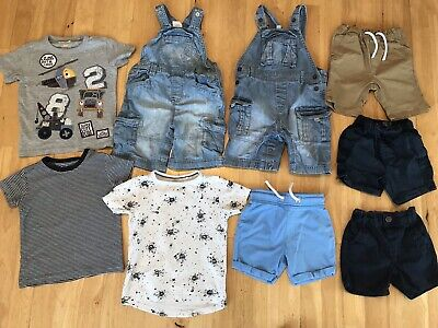 Baby boys summer bundle 100% Next dungarees tops shorts 18-24 months