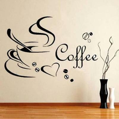 Coffee Tea Cups Heart Kitchen Wall Stickers Vinyl Art Decals Shop Home Decor CF