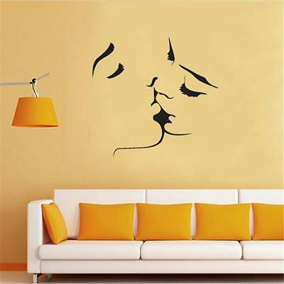 Fashion Wall Stickers Vinyl Kissing Couple Love Romantic Bedroom Wall Decor CF