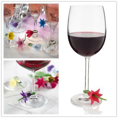 Wine Glass Charms ID Tags Beverage Markers Drink Suction Cup Write On Labels CF