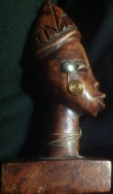 """African Hand Carved Kayan Tribe Native Head Vintage 5"""" Tall Wooden Sculpture"""