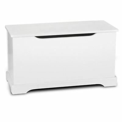 Kids White Wooden Toy Box With Safety Mechanism Bedroom Playroom Storage