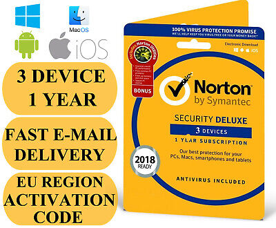 Norton Internet Security Deluxe 3 Device / 1 Year EU REGION Key 2020 EMAIL ONLY