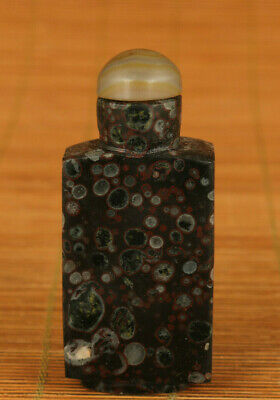 chinese old natural jade hand carved snuff bottle collectable