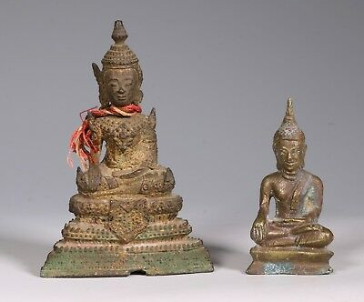 Two Thai Seated Bronze Figures of Buddha 19thC