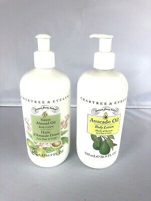 Two Crabtree & Evelyn Avocado Plus Sweet Almond Oil Body Lotion New 16.9 Oz