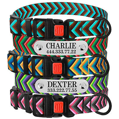 Personalised Nylon Dog Collar Adjustable Pet Collars Puppy Small Medium Large