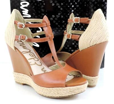 0316dda1a Womens Sam Edelman Katarina Espadrille Wedge T-Strap Sandals Saddle Tan Size  9.5