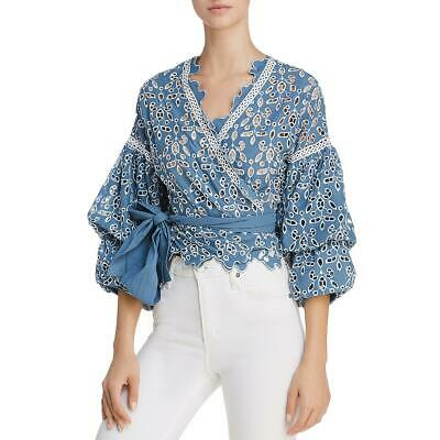 58de049a3b4f5f Saylor Womens Reed Blue Eyelet Lace Ruffle Sleeves Wrap Top Blouse M BHFO  2427