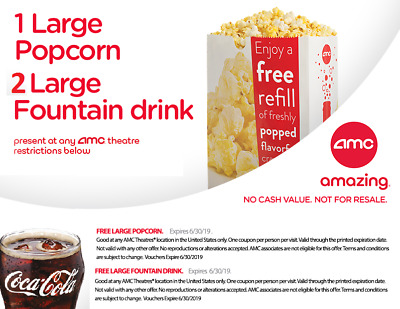 AMC Theatres Vouchers for 1 LARGE Popcorn, 2 LARGE Drinks exp 6/30/19 Date Night