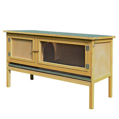 PawHut Wooden Rabbit Hutch Bunny Cage Outdoor Small Animal House w/ Hinged Top