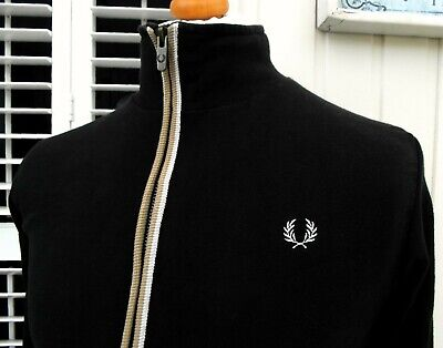 "Fred Perry Black Tipped Zip-Thru Cardigan - M - 40"" - Ska Mod Scooter Casuals"