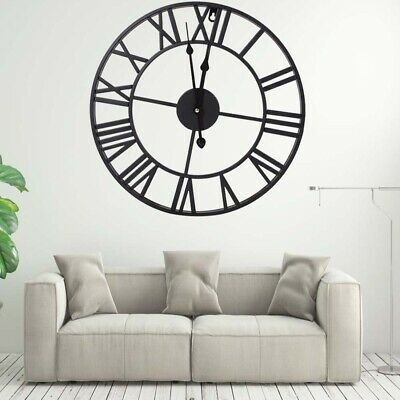 Large Roman Industrial Wall Clock Antique Vintage Metal Skeleton Numeral 40/60CM