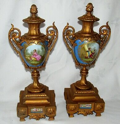 Delightful Quality Hand Painted Pair Of Large French Gilt Side Pieces