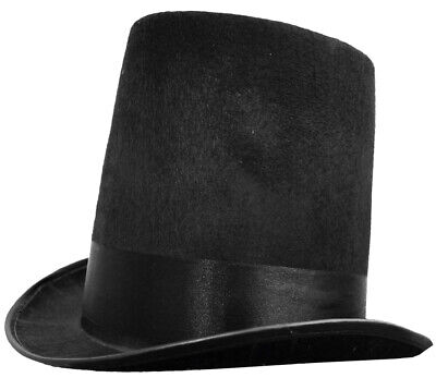 Black  Stovepipe Top Hat Felt Victorian Fancy Dress Formal Costume Accessory