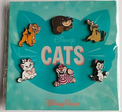 Booster disney pin's x6 série cats and dog cheshire figaro....